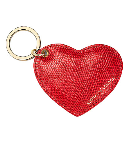 ASPINAL OF LONDON Lizard-print leather heart key ring (Berry