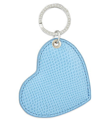 ASPINAL OF LONDON Leather heart keyring (Cream