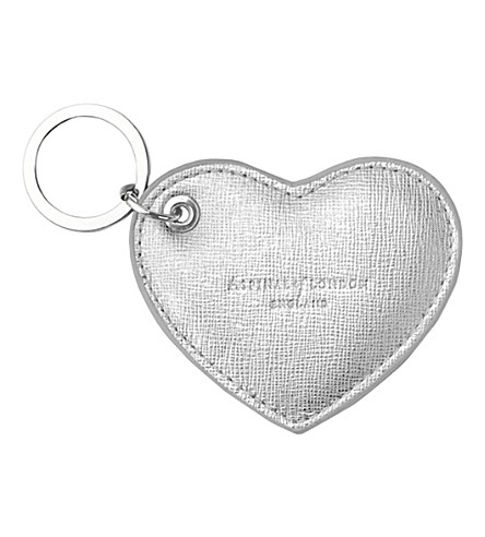 ASPINAL OF LONDON Saffiano leather heart keyring (Silver