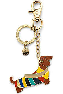 ASPINAL OF LONDON Dachshund handbag charm & key ring