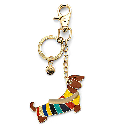 ASPINAL OF LONDON Dachshund keyring multi coloured leather (Multi