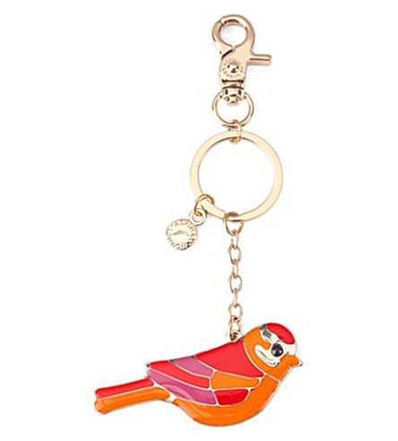 ASPINAL OF LONDON Enamel bird keyring (Red