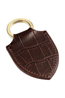 ASPINAL OF LONDON Croc-embossed leather shield key ring