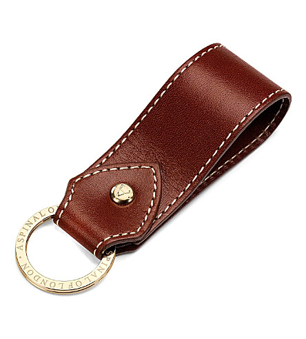 ASPINAL OF LONDON Leather loop keyring (Cognac