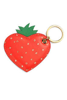 ASPINAL OF LONDON Strawberry leather key ring