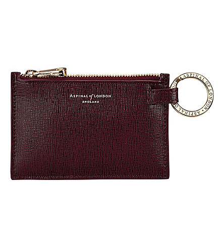 ASPINAL OF LONDON Small leather pouch (Burgundy
