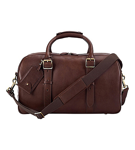 ASPINAL OF LONDON Harrison Weekender small leather bag (Chocolate