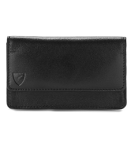 ASPINAL OF LONDON Business and credit card leather case (Black