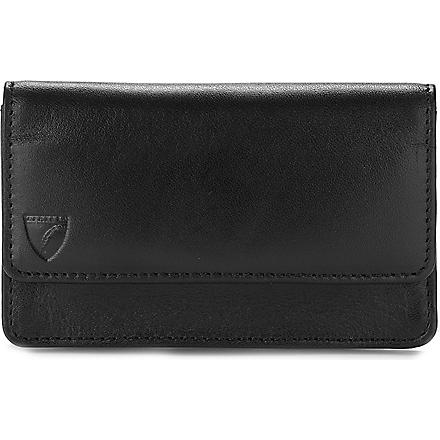ASPINAL OF LONDON Business and credit card case (Smooth black&cobalt