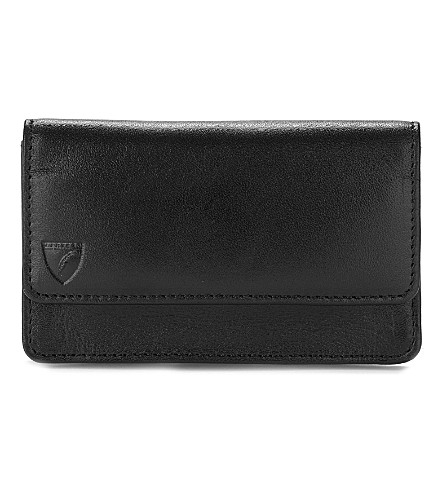 ASPINAL OF LONDON Business & credit card case black ebl & (Smooth black&cobalt