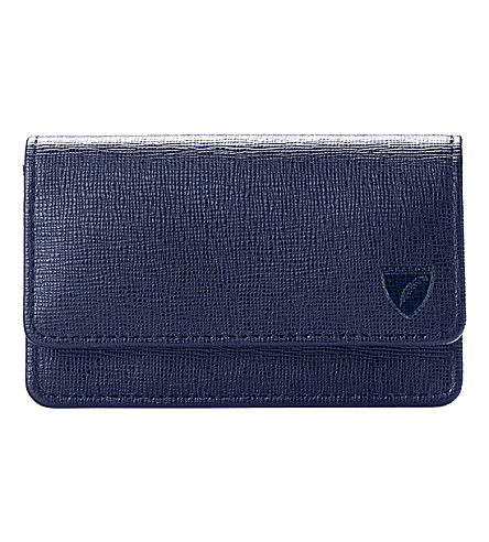 ASPINAL OF LONDON Leather business and credit card case (Navy
