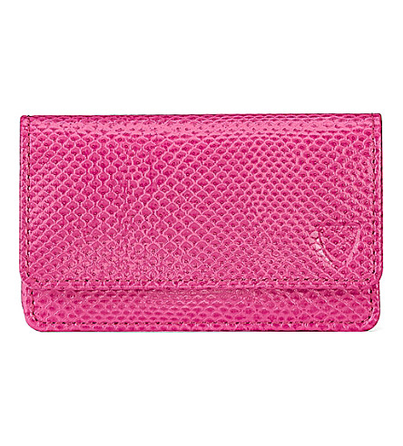 ASPINAL OF LONDON Leather business and credit card case (Pink