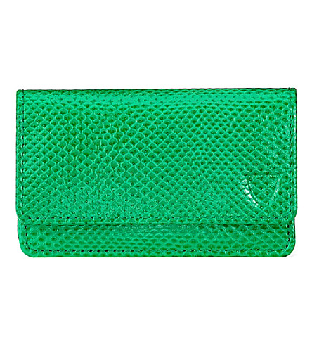 ASPINAL OF LONDON Leather business and credit card case (Green
