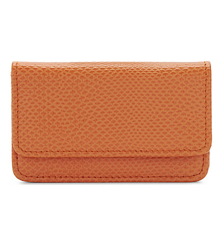 ASPINAL OF LONDON Lizard-print leather card holder (Orange