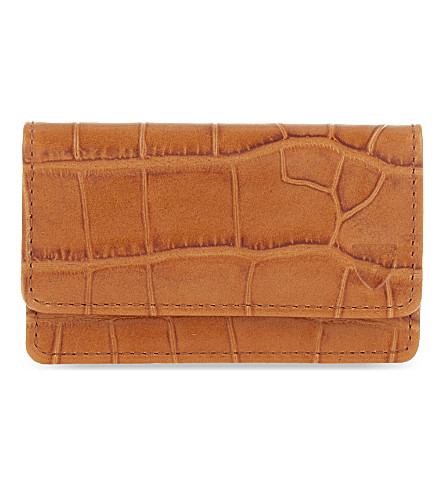 ASPINAL OF LONDON Crocodile-embossed leather card holder (Tan