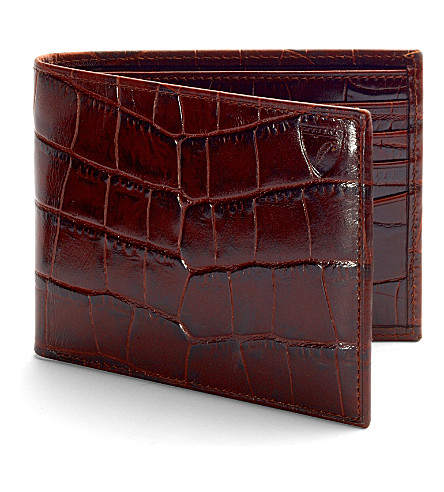 ASPINAL OF LONDON Billfold croc-embossed leather wallet (Amazon+brown