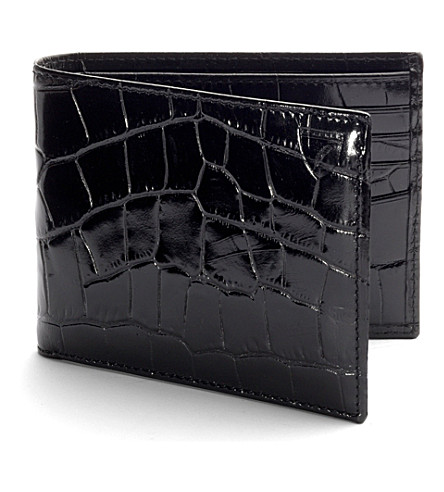 ASPINAL OF LONDON Billfold croc-embossed leather wallet (Black