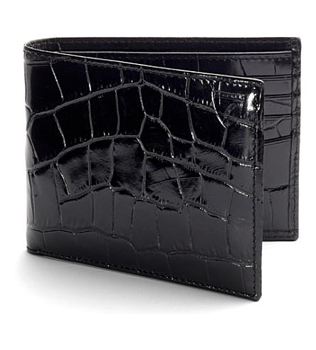 ASPINAL OF LONDON Billfold croc-embossed leather wallet (Black