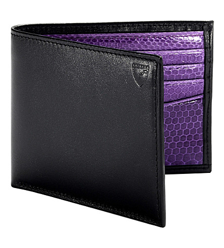 ASPINAL OF LONDON Exotic billfold snakeskin leather wallet (Black