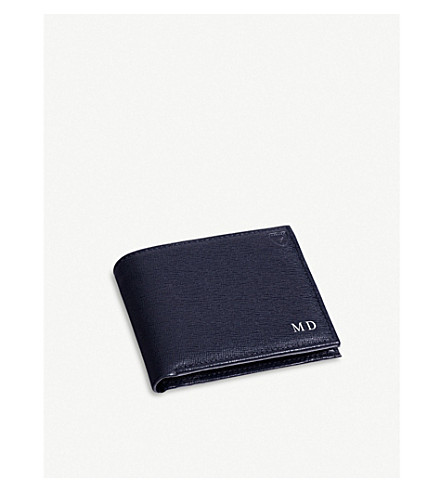 ASPINAL OF LONDON Billfold leather wallet (Navy