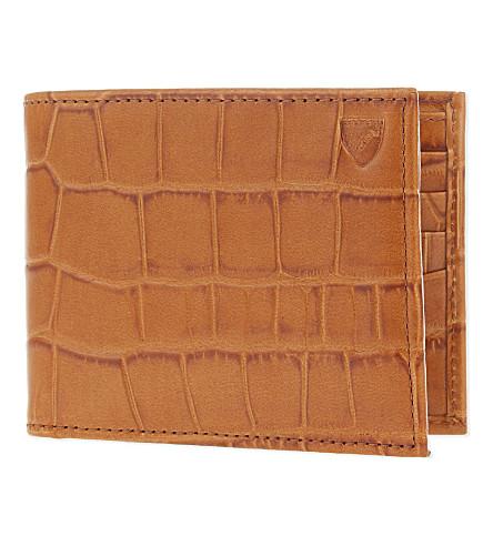 ASPINAL OF LONDON Bifold 鳄鱼纹压花皮革钱夹 (棕褐色