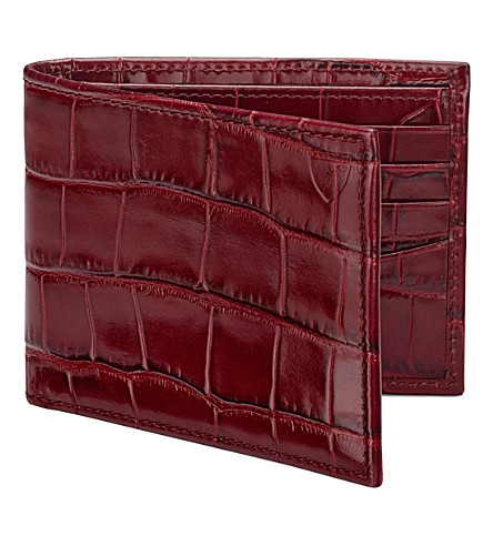 ASPINAL OF LONDON Billfold mick-croc leather wallet (Bordeaux