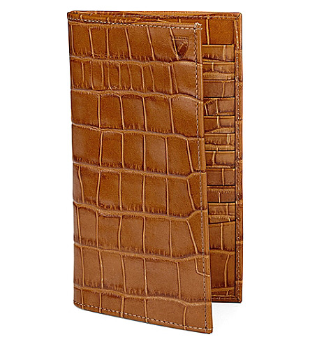 ASPINAL OF LONDON Classic crocodile-embossed leather breast wallet (Tan