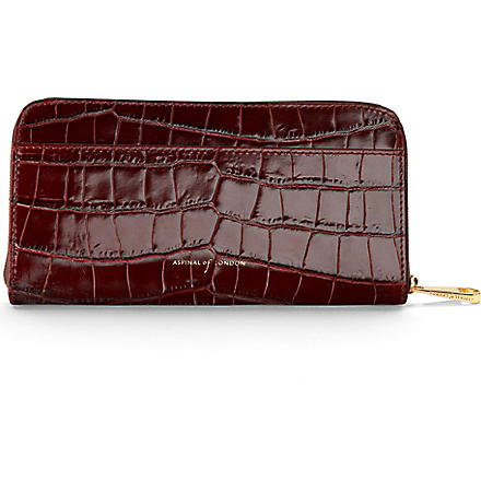 ASPINAL OF LONDON Mock-croc leather continental wallet (Amazon brown& stone
