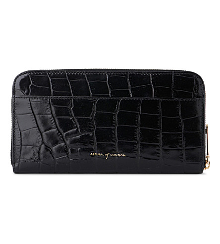 ASPINAL OF LONDON Continental clutch wallet - black mock c (Black