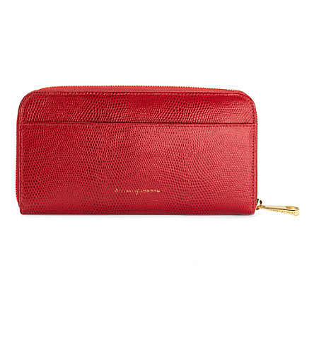 ASPINAL OF LONDON Continental zip around wallet red lizard (Red