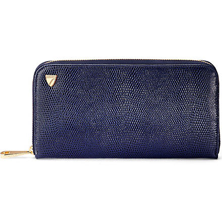 ASPINAL Continental leather wallet (Navy lizard & cream
