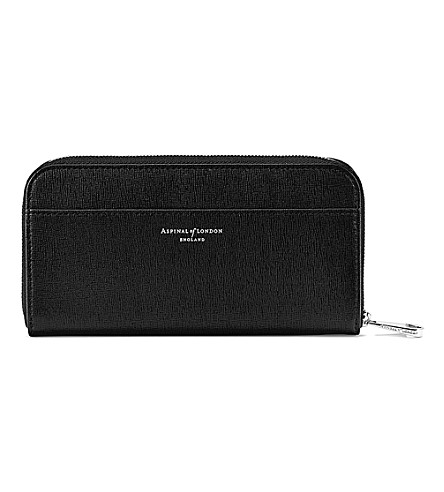 ASPINAL OF LONDON Continental leather zip-around wallet (Black