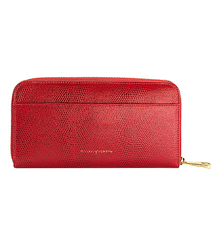 ASPINAL OF LONDON Continental leather zipper-around wallet (Berry