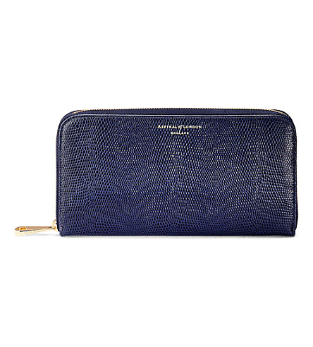 ASPINAL OF LONDON Continental leather zipper-around wallet (Navy