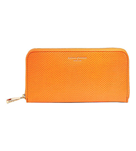 ASPINAL OF LONDON Continental clutch lizard-embossed leather wallet (Orange
