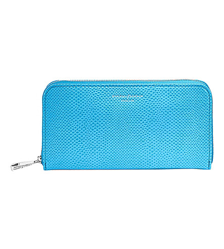 ASPINAL OF LONDON Continental clutch reptile-embossed leather purse (Blue