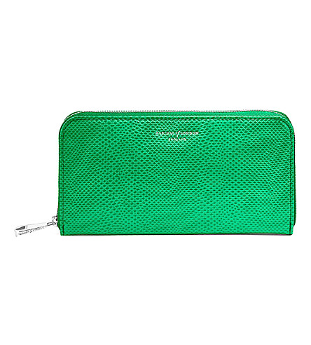 ASPINAL OF LONDON Continental clutch lizard-embossed leather wallet (Green