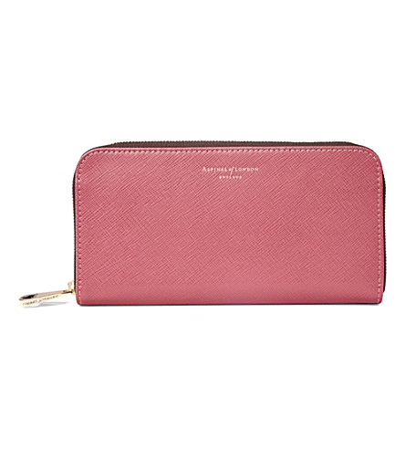 ASPINAL OF LONDON Continental leather clutch purse (Blush+pink