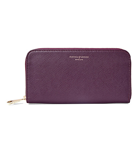 ASPINAL OF LONDON Continental leather clutch purse (Grape
