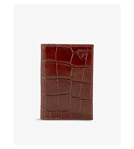 ASPINAL OF LONDON Croc-embossed double-fold leather card holder (Amazon+brown