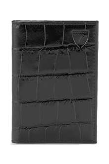 ASPINAL OF LONDON Mock-croc double-fold card wallet