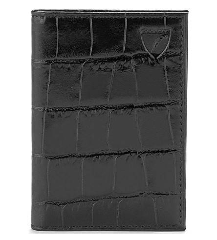 ASPINAL OF LONDON Double-fold leather card holder (Black