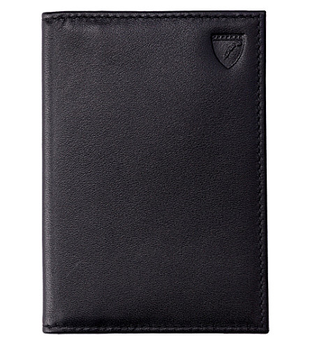 ASPINAL OF LONDON Folded leather credit card case (Black