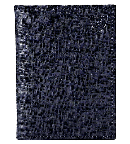 ASPINAL OF LONDON Double-fold leather credit card case (Navy