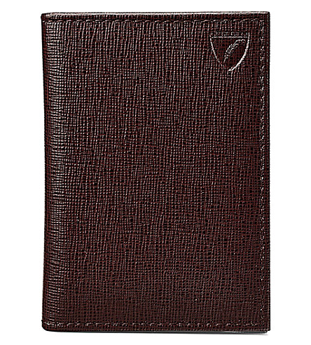 ASPINAL OF LONDON Folded leather credit card case (Brown