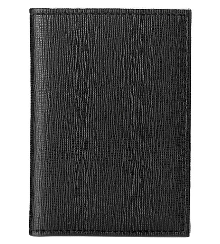 ASPINAL OF LONDON Double-fold saffiano leather card case (Black