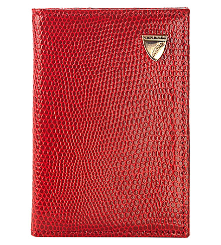 ASPINAL OF LONDON Double-fold lizard-print leather credit card case (Berry