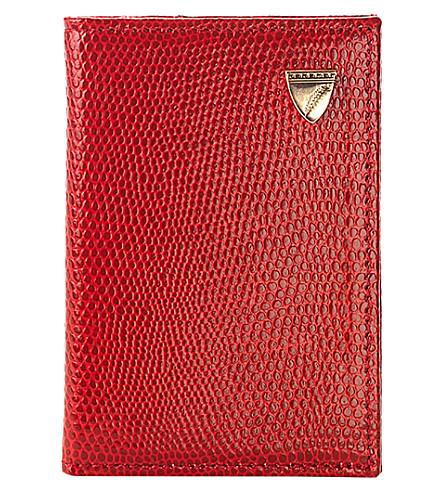 ASPINAL OF LONDON 双折叠蜥蜴-打印皮革信用卡盒 (浆果