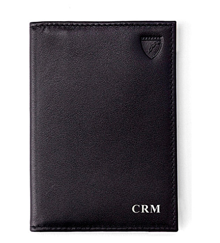 ASPINAL OF LONDON Double-fold leather card case (Black