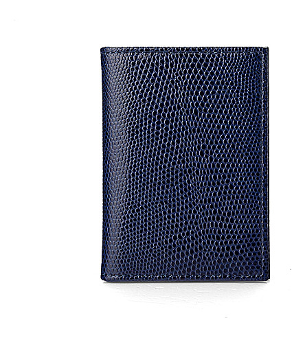ASPINAL OF LONDON Double-fold leather card case (Navy